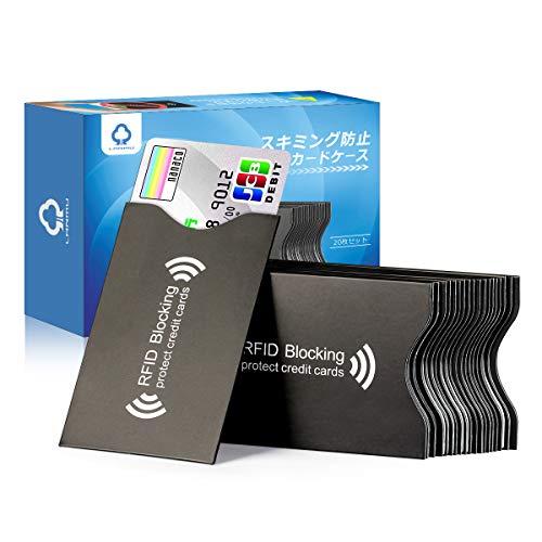 LANMU スキミング防止ケース カードケース 20枚 ブラック スキミング防止 磁気遮断 磁気防止 ICカード干渉防止 磁気エラー防止カードケース RFID&磁気スキミング防止 icカードケース/クレジットカード 読取エラー防止 予防対策ケース カードサイズ カードデータ保護 防水