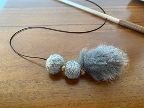 Tues Tamer Crazy Caterpillar - Natural Grey Felt Balls and Fur Toy -Birch Wood Rod Teaser & Exerciser Wand for Cat & Kitten- Interactive - Soft and Safe - Feather-Like - Handcrafted in The USA