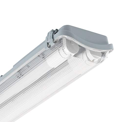 LEDKIA LIGHTING Pantalla Estanca Slim para dos Tubos LED 600mm PC/PC Conexión un Lateral 600 mm
