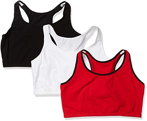 Fruit of the Loom Women's Built Up Tank Style Sports Bra, Red Hot with Black/White/Black, 46