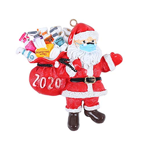N/Q Christmas Ornaments 2020, Santa Wearing A Face Mask and Carrying a Gift Bag, Christmas Tree Decorations Hanging Pendant Decor Xmas Creative Gift (1pc)