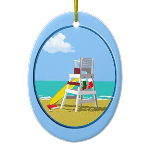 LilithCroft99 Lifeguard Chair at Christmas Ceramic Christmas Ornaments Novelty Christmas Tree Decorations Idea