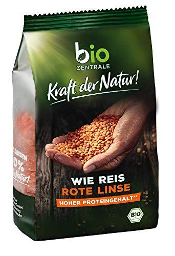 biozentrale wie Reis rote Linse | 280g Reis aus Linsenmehl Rot | Rote Linsen Reis mit hohem Proteingehalt | Ideal als Reis, Nudeln & Pasta Alternative