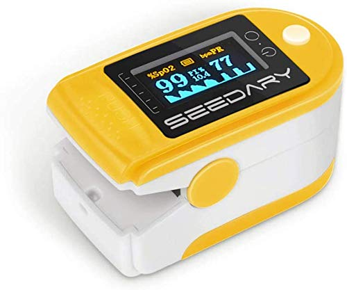 SEEDARY Oxímetro de Pulso y Monitor de Frecuencia Cardíaca con Pantalla OLED HD Pulsioxímetro con Alarma y 4 Direcciones Certificado por CE y FDA para Adultos y Niños (Baterías y cordón incluidos)