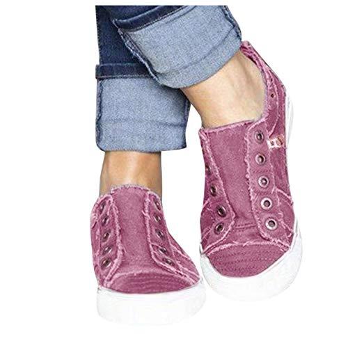 Women's Canvas schuhe Low Top Slip On Sneakers mit Zipper Running Halbschuhe Slipper Trainers Outdoor Shoes Trainers Bottomed Shoes Sports sportlicher Shoes Schnürhalbschuhe (Lila, 37)