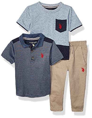 U.S. Polo Assn. Conjunto de Camiseta y Camiseta de Manga Corta para niño, Azul índigo Azul Jaspeado, 3 Años