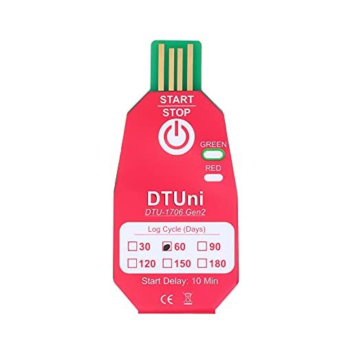 skrskr Registrador de datos de temperatura USB 2.0 desechable a prueba de agua PDF Registrador de termómetro de cadena fría de 60 días para la industria química/biológica