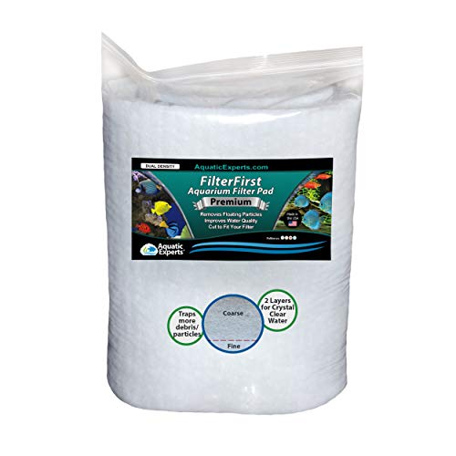 """Aquarium Filter Pad - Premium True Dual Density 12"""" by 72"""" by 3/4 to 1"""" Aquarium Filter Media Roll for Crystal Clear Water"""