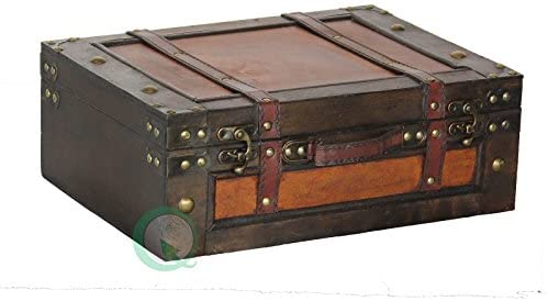 Vintiquewise(TM) Old Style Suitcase/Decorative Box with Straps, Set of 2