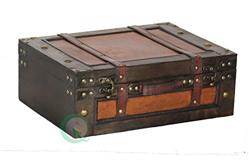 Vintiquewise (TM) Old Style Suitcase / Decorative Box with Straps Retro Large Suitcase Only brown