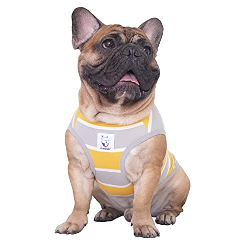iChoue 100% Cotton Striped Dog Shirts Tank Top Vest Clothes for Medium Dogs Boy French Bulldog Frenchie Pug English Summer Yellow Stripes - M