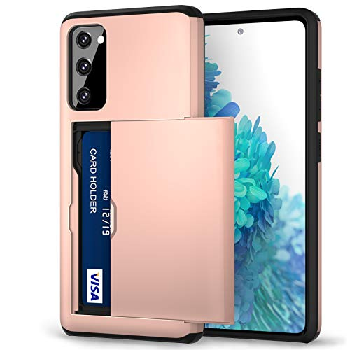 Jiunai S20 FE Case, Galaxy S20 FE Case Credit Card IDs Holder Shell Wallet Case Sliding Back Pocket Card Slot Dual Layer Rubber Cover Case Designed for Samsung Galaxy S20 FE 5G Rose Gold