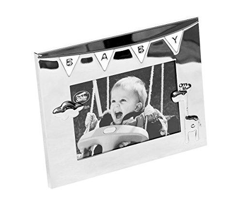Brillibrum Design Bilderrahmen Baby Mit Wunschgravur Erinnerung Geschenkidee zur Taufe Personalisiert Silber-Fotorahmen Rahmen mit Gravur bis 15 Zeichen
