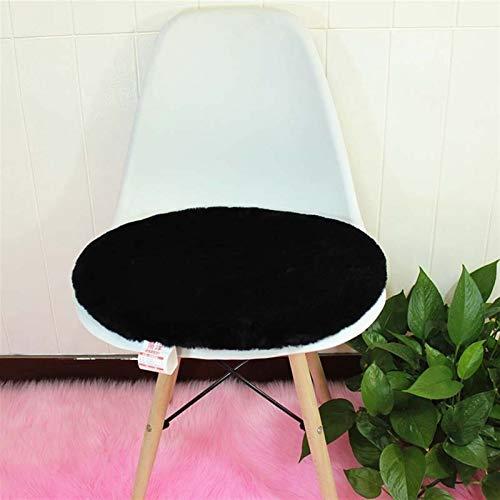 Cojín de Asiento de Lana Artificial Suave Cojín Redondo Silla Redonda Cojín de oficinas Colchón (Color : Black, Specification : 45x45cm)