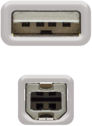 NECULAMAT Cable Impresora, Cable Impresora USB 2.0 de 3 Metros Tipo A a Tipo B Compatible con la mayoria de impresoras como Impresora HP,Brother,Canon,Epson,Lexmark,DELL:Color:Gris