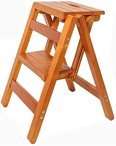 Escalera de madera sólida taburete de paso, escalera plegable silla de la...