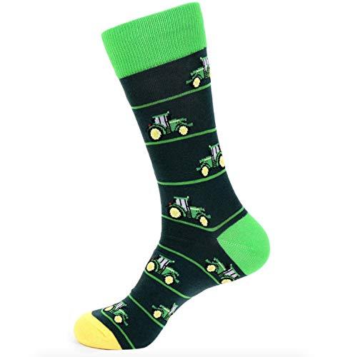Urban-Peacock Men's Novelty Socks - Multiple Patterns! (Farmer's Tractor - Green, 1 Pair)