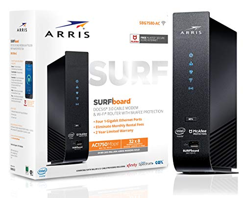 ARRIS SURFboard (32x8) DOCSIS 3.0 Cable Modem Plus AC1750 Dual Band Wi-Fi Router, Certified for Comcast Xfinity, Spectrum, Cox & more (SBG7580AC McAfee)