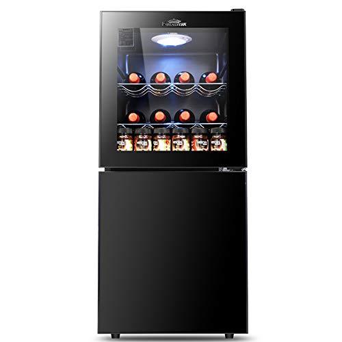 YUTGMasst 2020 Nuevo Mini Nevera - Wine Fridge, Refrigerador Vino, Doble Partición: Área Vino + Congelador, Ajuste Temperatura 5 Velocidades, Refrigerador Sobremesa,Adecuado para Bar Habitacion Casa