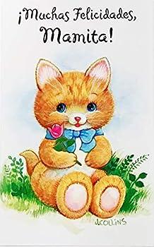 Muchas Felicidades Mamita - Feliz Cumpleanos Mama Madre Happy Birthday Greeting Card in Spanish Espanol with Cat