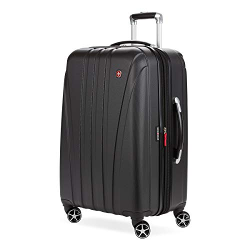 SwissGear 7585 Hardside Spinner Luggage, Black, Checked-Medium 23-Inch
