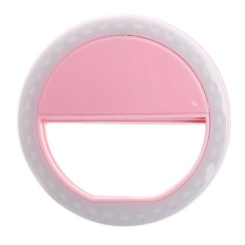 Guoyy Selfie Anillo de luz, portátil, 36 LED, luz de selfie, iluminación suplementaria, mejora de selfie, luz de relleno LED para iPhone y teléfonos inteligentes Android/tableta y fotografía (rosa)