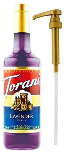 Torani Lavender Syrup, 25.4 Ounce Single Glass Bottle Plus 1 Torani Syrup Pump