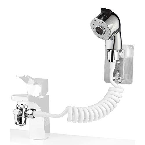Ducha de mano Hivexagon para lavado de cabello, juego de enjuague de grifo con adaptador para grifo, soporte de ducha y manguera - para lavadero, baño, bañera de lavandería