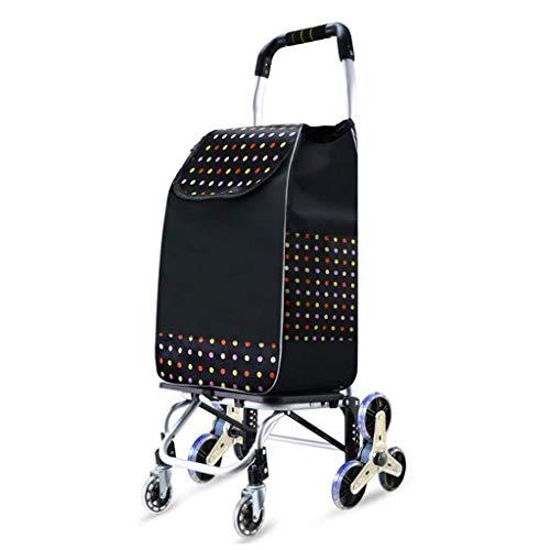 GUONING-L Rueda Carrito de la compra de mano del remolque el carro del equipaje del hogar Pequeño Carrito de arrastre de cristal de ruedas de aleación de aluminio plegable que soportan el peso de 50 k