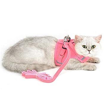 Zunea Ensemble harnais et laisse pour chat anti-fuite réglable réfléchissant en maille souple rembourrée en velours côtelé pour chats, chatons, chiots et petits chiens