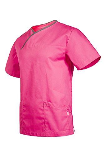 """Clinotest Kasack """"München"""", Schlupfkasack/Pflegekasack/Unisex-Kasack, Berufsbekleidung, in verschiedenen Trendfarben, Gesundheitswesen (2XL, Rosita/Pale Grey)"""