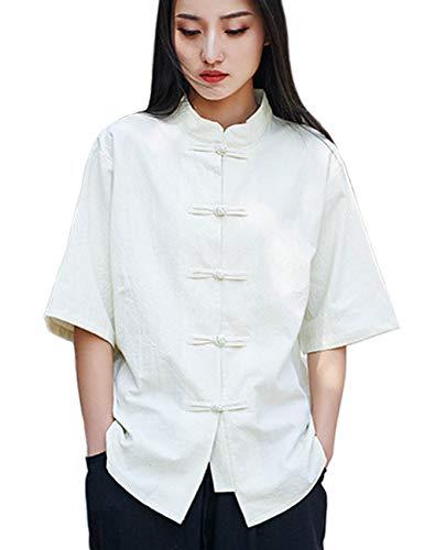 LZJN - Camiseta de manga corta para mujer, estilo chino, algodón y lino, con botones Beige beige Taille unique