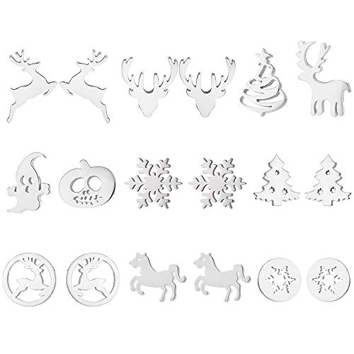 Lifreer 9 Pairs Christmas Earrings Set Stainless Steel Assorted Earrings Reindeer Xmas Tree Snowflake Earrings for Women Girls (Sliver Color)