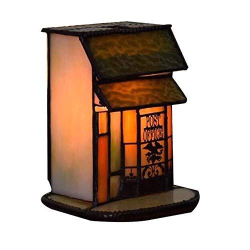 JF-XUAN Pastoral americana del estilo de Tiffany Pequeña Casa lámpara de mesa País arte creativo decoración Banco luz de la noche Restaurante Bar Sala E14 (Tamaño: 14 * 12 * 14 cm) Iluminación interio