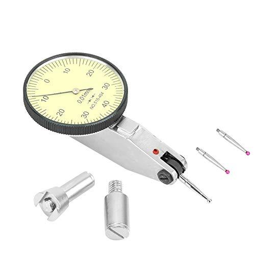 ダイヤルテストインジケーター ダイヤルゲージ 精密測定用 ダブテールレール ダブテールレールダイヤルテストインジケータ 0-0.8mm 0.01mm精度 ゲージコンパス 2つ プローブ ダイヤルテストインジケータ (ルビー プローブ)