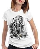 style3 Marilyn Tattoo Heartbreaker Camiseta para Mujer T-Shirt Rock Monroe tatuar USA, Color:Blanco, Talla:XS