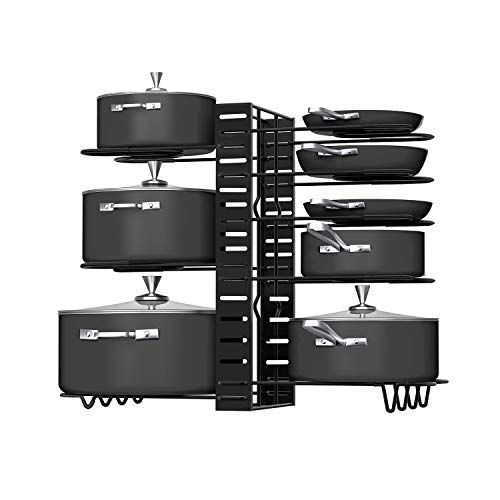 Pot Rack Organizers, G-TING 8 Tiers Pots and Pans Organizer, Adjustable Pot Lid Holders & Pan Rack for Kitchen Counter and Cabinet, Lid Organizer for Pots and Pans With 3 DIY Methods(Upgrade Version)