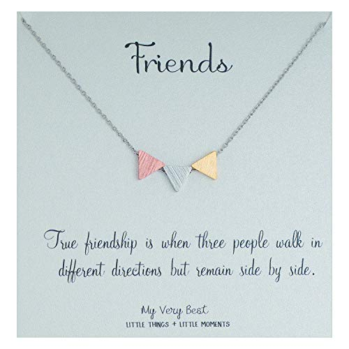 My Very Best Geometric Triple Balance Triangle Necklace (Friendship_3 color mixed triangle)
