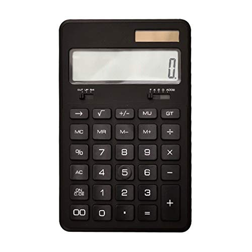 Einstellbarer Winkel Taschenrechner Studie Wissenschaftliche Taschenrechner Faltbrett Kunststoffknopf Standardfunktion 12-stelliges großes LCD-Display Handheld Office-Taschenrechner (Color : Black)