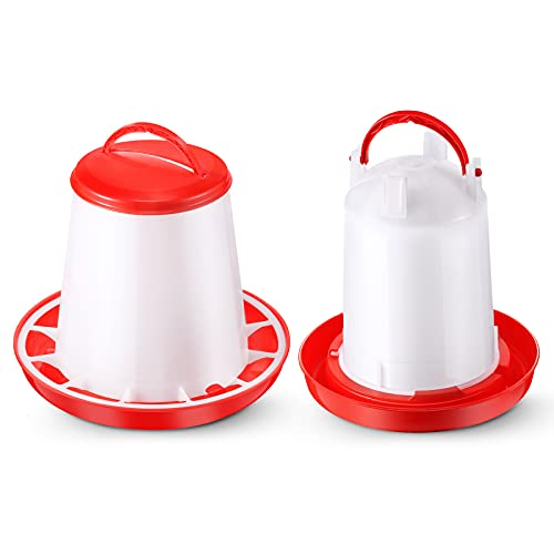 Chick Feeder and Waterer Kit Hanging Poultry Feeder Plastic Poultry Fountain Poultry Drinker for Farm, Coop, Chicken, 1.5 L Waterer and 1.5 Kg Feeder Set