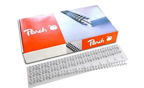Peach PW127-01 Drahtbinderücken, A4, 12 mm, 105 Blatt, 100 Stück, silber