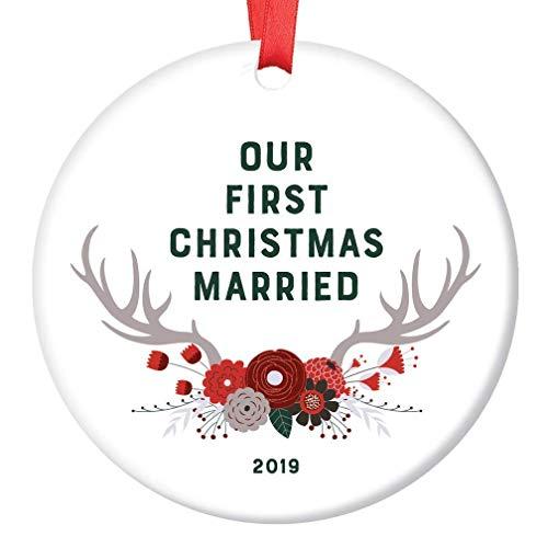 DKISEE Dekoelement für die erste Weihnachtsfeier 2019, Hochzeitsgeschenk, 1. Jahr, Mr. & Mrs Ehemann, Ehefrau, Brautpaar, Jubiläum, 7,6 cm, Kreis aus Keramik