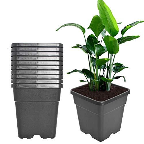 Square Nursery Pots Plant Pots Grow Pots Nursery Container Fit For Planting Soil Plants 5 Gallon 10Pcs