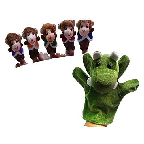 Changskj Felpa Marioneta Bebé niño Mano títere Juguetes para niños zoológico Granja Animal Guante marioneta Cinco Monos pequeños Columpios en un (Color : As Shown)