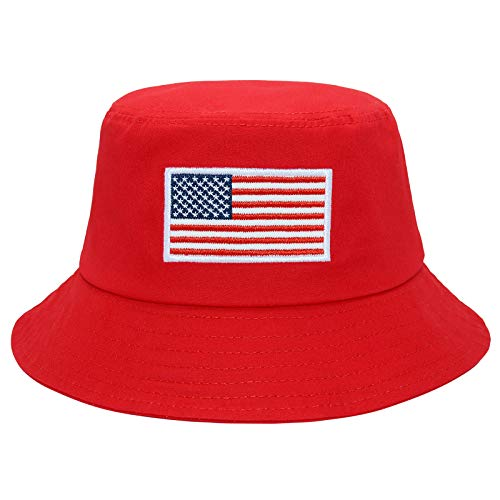 American Flag Bucket Hat Embroidery Bucket Hat Summer Travel Beach Sun Hat Visor Outdoor Hat for Men and Women Red