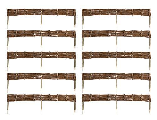 MC.Sammler 10 x Beeteinfassung aus Weide 16 Größen (Länge: 120 cm Höhe: 10 cm) Weidenzaun Rasenkante Beetbegrenzung Steckzaun imprägniert mit Buchepflöcken für leichtes Einsetzen Palisade