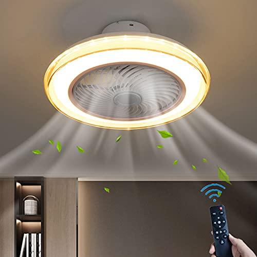 XKAI Ventiladores para Techo con Lámpara Luces de Techo de Ventilador LED Silencioso con Control Remoto Regulable, Lámpara de Techo con Ventilador Invisible de 3 Velocidades, 3000K ~ 6000K, 50cm