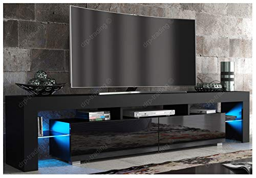 DRP Trading Modern TV Unit 200cm Cabinet Black Matt and Black High Gloss FREE LED RGB Lights
