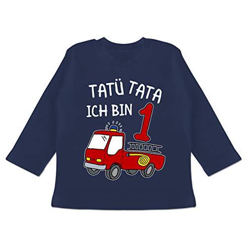Geburtstag Baby - Tatü Tata ich Bin 1 Feuerwehrauto - 12/18 Monate - Navy Blau - Shirt 1. Geburtstag Junge - BZ11 - Baby T-Shirt Langarm