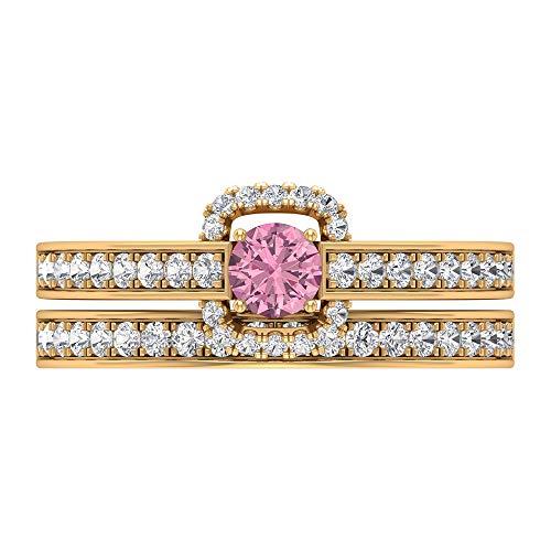 Juego de anillos de novia, anillo de compromiso turmalina, anillo de boda de diamante HI-SI, joyería de novia de oro (turmalina de 4 mm), oro de 14 quilates, Metal, Diamond Tourmaline,